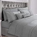 AMSKA INTERNATIONAL Duvet Cover Bedding Set Pinsonic Quilted Silver Grey Quilt Linen (9077) (King)