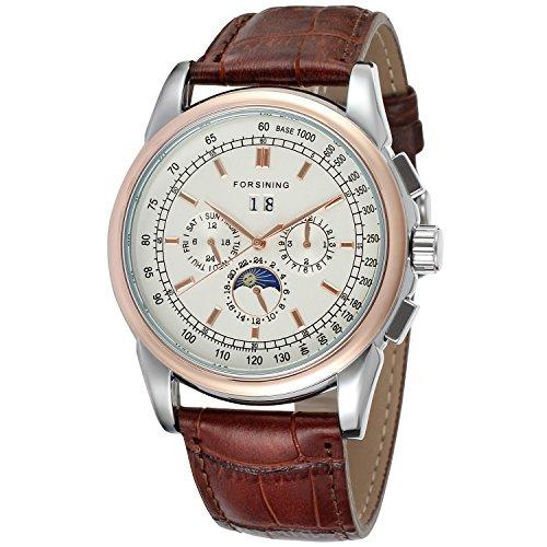 Reloj de pulsera analógico Forsining para hombres, automático, de alta gama. Con correa de cuero y fases de la luna. Colección FSG319M3T1