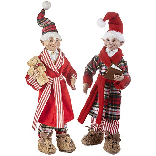 Set of 2 Posable Elf Ready for Bed Christmas Elfs 16 Inch Raz 3902250