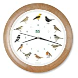 KOOKOO Singvögel Wood, Singing birdclock Includes 12 Genuine Original Field Recordings from Native Songbirds, Large 34cm/13,4in Wall Clock with Light Sensor