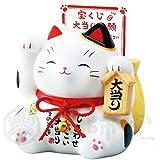彩絵 大当り 招き猫(白)(宝くじ入れ貯金箱) 7331