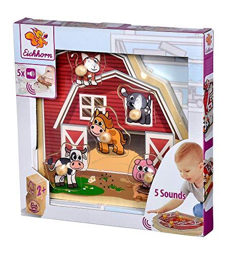 Eichhorn- Puzle, diseño de Granja, Puzzle de Madera 100% certificada FSC, con Cinco Sonidos de Animales, Gato, Vaca, Caballo, Perro y Cerdo, 6 Piezas, tamaño 25 x 25 cm (100005415)