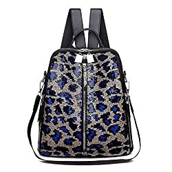 Blue Mini Small Backpack Sequin Texture Leopard Pattern