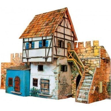 CLEVER PAPER CARDBOARD KIT MEDIEVAL WALL HOUSE MODEL 14250