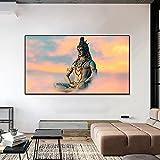 Cuadro con estampado de lienzo de Buda, decoración nórdica para habitación, cuadro artístico de pared para sala de estar, decoración del hogar 30x55 CM (sin marco)
