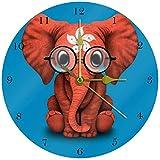 BeeTheOnly Hong Kong Flagge Baby Elefant R&e Wanduhr Schlafzimmer Wohnzimmer Küche Badezimmer Büro Schule