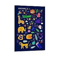 子供の動物識別教育の漫画アートかわいいポスター キャンバスポスター寝室の装飾スポーツ風景オフィスルームの装飾ギフト,キャンバスポスター壁アートの装飾リビングルームの寝室の装飾のための絵画の印刷 08x12inch(20x30cm)