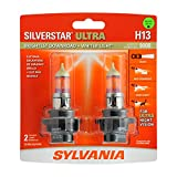 SYLVANIA - H13 SilverStar Ultra - High Performance Halogen Headlight Bulb, High Beam, Low Beam and Fog Replacement Bulb, Brightest Downroad with Whiter Light, Tri-Band Technology (Contains 2 Bulbs), White (H13SU.BP2)