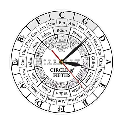 tyjsb Circle of Fifths Stave Músico Compositor Regalo Enseñanza de música Reloj de Cuarzo Colgante Moderno Teoría de la armonía Reloj de Pared de Estudio Musical 30X30cm