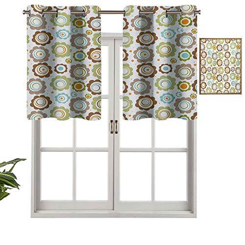 Hiiiman Pequeñas cortinas para ventana de cocina, cenefas, diseño tradicional de lunares, diseño de pétalos de flores, círculo de colores, juego de 1, 91 x 45 cm para cocina, ventana, baño y café