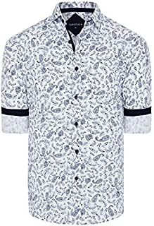 Tarocash Men's Toto Paisley Print Shirt Regular Fit Long Sleeve Sizes XS-5XL for Going Out Smart Occasionwear