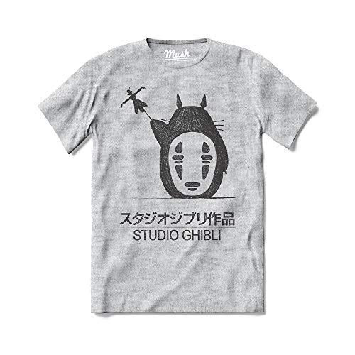 MUSH T-Shirt Studio Ghibli Il Mio Vicino Totoro - Film Animazione Giapponesi - 100% Cotone Organico, Large Uomo, Grigio Sport
