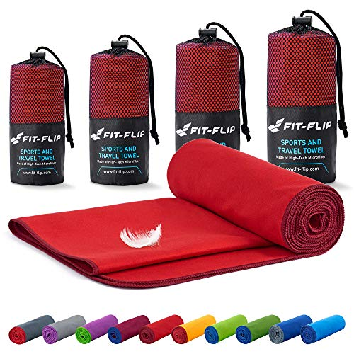 Toalla microfibra – en todos los tamaños / 18 colores – compacta y de secado rápido – toalla microfibra grande – toalla fitness gimnasio y toalla microfibra playa (100x200cm rojo - borde borgoña)