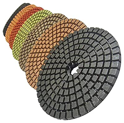 "STADEA Premium Grade Wet 5"" Diamond Polishing Pads Set For CONCRETE Polish"