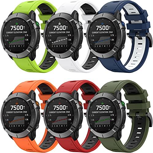 YASPARK Bracelet pour Garmin Fenix 5/Fenix 5 Plus/Fenix 6/Fenix 6 Pro/Forerunner 935/945/Instinct/Forerunner 745/Approach S60/Approach S62/Quatix 5/Quatix 6 Bracelets 22mm Bande en Silicone