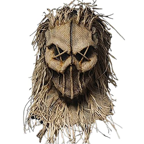 YAQI Mscara de espantapjaros de Halloween, gorro con guantes y sombrero para disfraz de Halloween para disfraz de fiesta de disfraces y cosplay