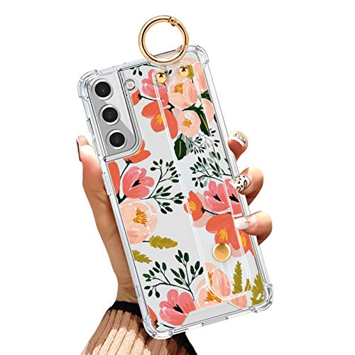 Samsung Galaxy S21 Plus Clear Case 6.7 Inch Anti-Yellow Reinforced Corners Full-Body Protective Slim Phone Cover with Design Pink Orange Flower Floral Autumn Case with Wrist Strap Lanyard Kickstand