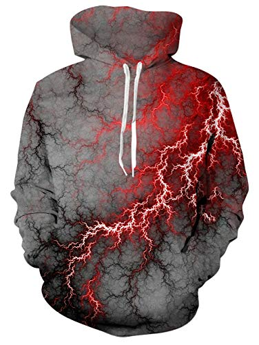 TUONROAD 3D Novelty Digital Printing Hoodies Jacket Gray Red Lightning Nebula Clouds Plus Size Long Sleeve Hip Hop Graphic Hooded Pullover College School Cool Premium Quality Sweatshirt