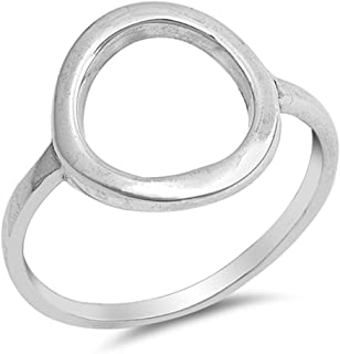 Large Wide Round Circle Beautiful Ring New .925 Sterling Silver Band Sizes 4-10