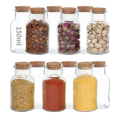 RUBY Glas mit Korkdeckel Rund Glasdose mit Korkverschluss,Kleine Glasflaschen mit Korken Gewurzglaser Set,Vorratsglas Korkdeckel Glasdose mit Holzdeckel für Küche 12 Stück