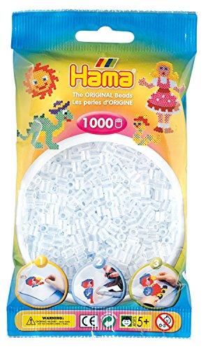 Hama Perlen 207-19 Bügelperlen Beutel mit ca. 1.000 Midi Bastelperlen mit Durchmesser 5 mm in weiß transparent, kreativer Bastelspaß für Groß und Klein