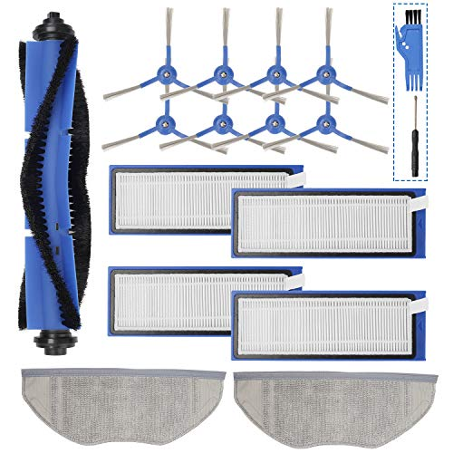 Smilyan Replacement Parts Kit for Eufy RoboVac L70 Hybrid Robot Vacuum Cleaner, Accessories Includes 1 Rolling Brush 2 Mop Pads 4 HEPA Filters 8 Side Brushes Attachments Dining Features Kitchen