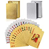 Joyoldelf 2 Decks of Playing Cards, 24K Foil Waterproof Poker with Gift Box