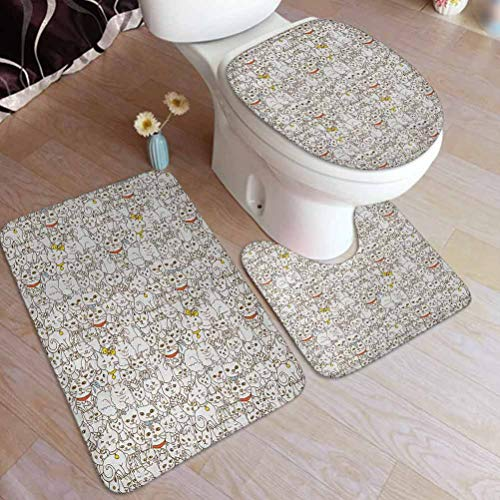 Kitten Non Slip 3 Piece Bath Mat, Bunch of Cats Sweet Family Animals Best Company Doodle Style Kitties Baby Cartoon, 3 Piece Bath Mat Rug Set Soft Skidproof Toilet Seat Cover Bath Mat Lid Cover
