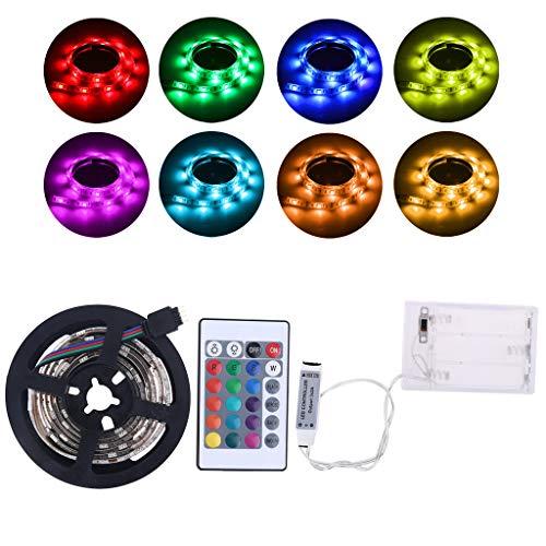 PHILSP Lámpara de Tira 4.5V Impermeable 5050 RGB Funciona con Pilas 30 LED/m Luz de Tira Flexible Kit de iluminación Trasera de TV Arco Iris