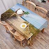 Rechteck Tischdecke140 x 200 cm,Beach, Goldener Sandstrand South Miami mit Zäunen American Style Holida,Couchtisch Tischdecke Gartentischdecke, Mehrweg, Abwaschbar Küchentischabdeckung für Speisetisch