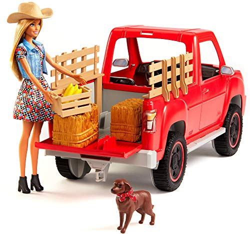 ​Barbie Sweet Orchard Farm Truck and Doll with Pet Dog, Hay and Crate of Corn, Gift for 3 to 8 Year Olds​