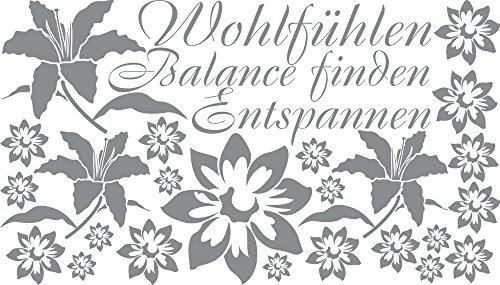 GRAZDesign Wasserfeste Fliesen Aufkleber Balance Finden, Badezimmer Dekoration Ruhezimmer Spa Lounge, Wandtattoo Badezimmer Wellness Set / 100x57cm074 Mittelgrau