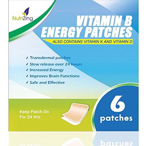 NutriZing Parches de Suplemento Vitamínico B12 – Lo mejor para aumentar la energía y la claridad mental – Para Hombres y Mujeres – Ideal, Simple y Fácil de Aplicar – Alta resistencia - 5000mcg Metilcobalamina – También contiene Vitamina K y D