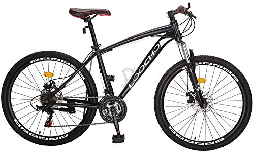 "Mountain Bike for Men & Women 21 Speed Shimano Dual Disk Brake Front Suspension Heavy Duty MTB, 18"" Frame 26"" Rim (Black)"