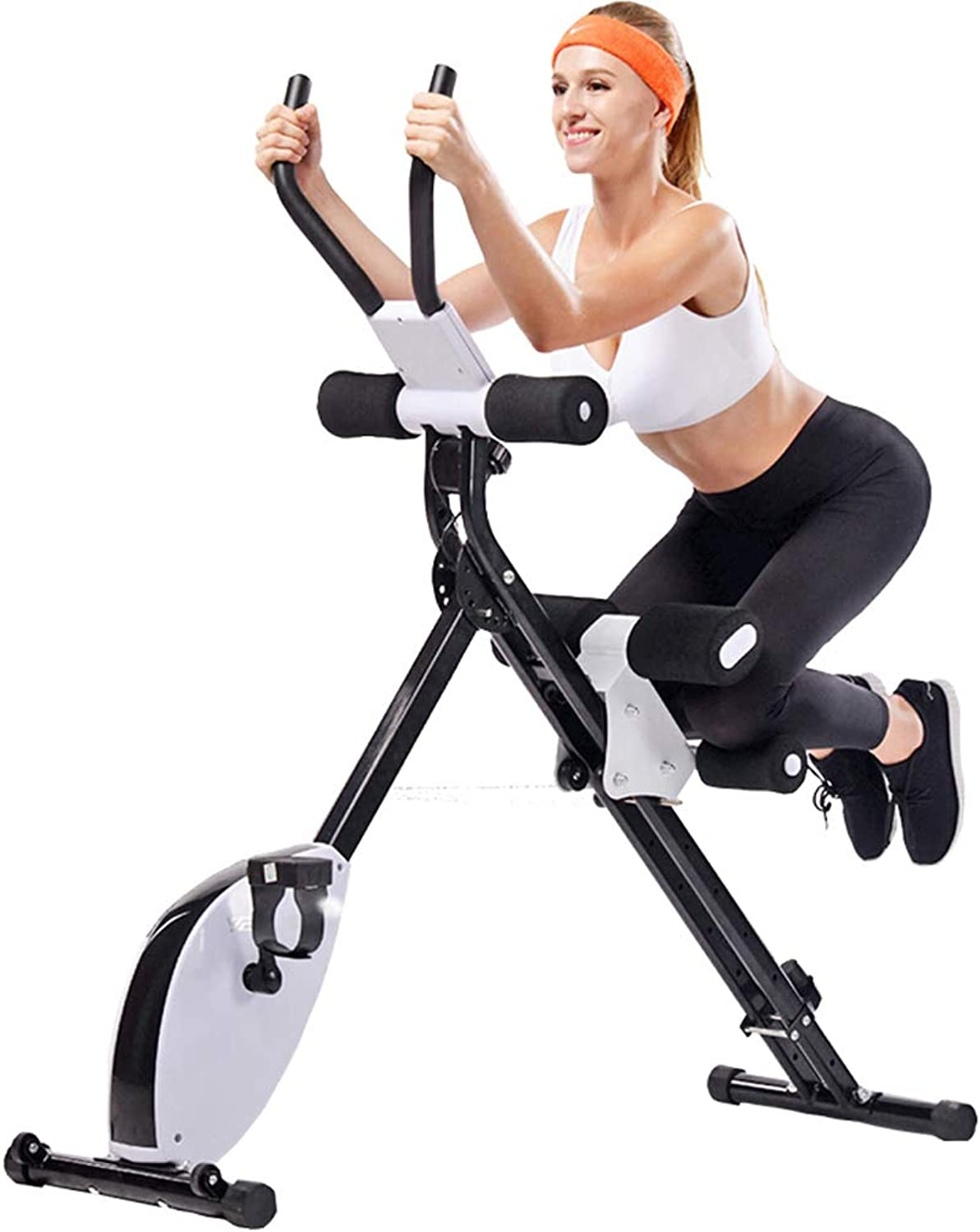 200KG Capacity 2 in1 Folding Magnetic Upright Exercice Bike,Waist and Abdomen Training Equipment with Adjustable LCD Monitor XBike