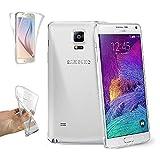REY Funda Carcasa Gel Transparente Doble 360º para Samsung Galaxy Note 4, Ultra Fina 0,33mm, Silicona TPU de Alta Resistencia y Flexibilidad