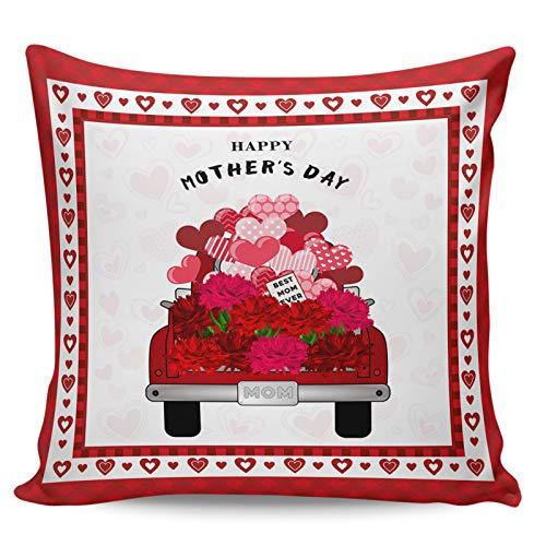 Scrummy Housse de coussin 45,7 x 45,7 cm Happy Mother's Day Brilliant Carnation Truck Love Red Buffalo Check Plaid Housse de coussin carrée pour décoration d'intérieur