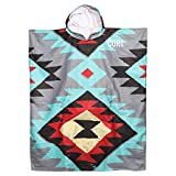 COR Surf Poncho Changing Towel Robe with Hood and Front Pocket, Made of Quick Dry Microfiber (Large Tribal-Tech)