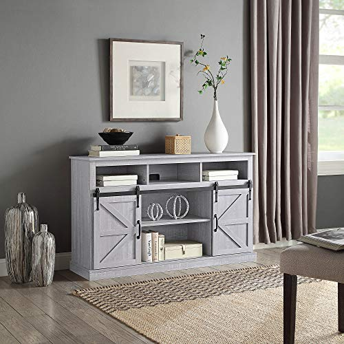 """BELLEZE Parker 52"""" TV Stand Sliding Console for TV's Up to 60"""" Entertainment Center, Stone Grey"""