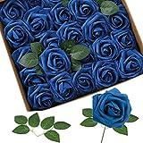 Homcomodar Flores Artificiales Rosa Azul Marino 30 Piezas Rosa Falsa de Aspecto Real con Tallo para arreglos de Ramos de Boda Fiesta Baby Shower Decoraciones para el hogar