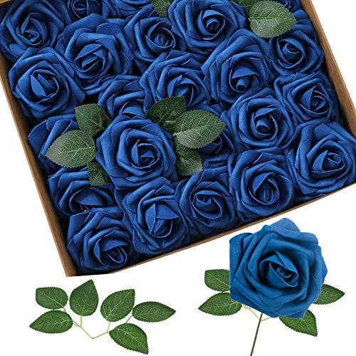 Homcomodar Fiori Artificiali Blu Navy Rosa 30pcs Reale Cercando Rose Finte con Gambo per Matrimonio Fai da Te Mazzi Centrotavola Disposizione Partito Casa Arredamento