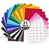 Vinylfolien-31Plotterfolie mit permanentem Klebefolien, 27 Selbstklebende Vinylfolie + 4 Transferfolie, 30.5 * 30.5 cm Vinyl Blätter für 21 verschiedene Farbfolien für Cricut,Abziehbilder