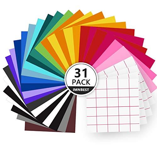 ImnBest-31 Láminas de vinilo , con respaldo adhesivo permanente, 27 láminas de vinilo 12  x 12 + 4 Transfer Tape Sheets ,surtidos para máquinas de corte