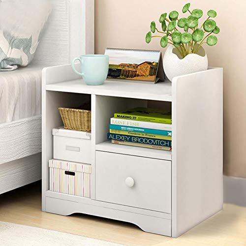 Bedside Table Night Stand with Storage Drawer and Open Shelf, Home Bedroom Livingroom Bedside Sofa Side Table Cabinet Chest of Drawer Shelf, 42*24*40cm Bedside Storage Drawer Table White Wood(White)