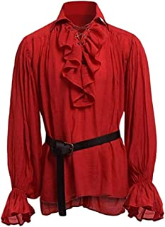 Snowmolle Mens Performance Hipster Cosplay Costume Ruffle Prom Dress Shirt Round Collar Victorian