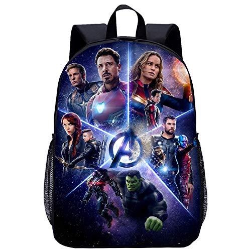 BATEKERYAS Schwarzes 6D-Avengers-End-Spiel Cartoon Pattern Design Schultasche, Spielzeugtasche, Lunch-Tasche, Computertasche