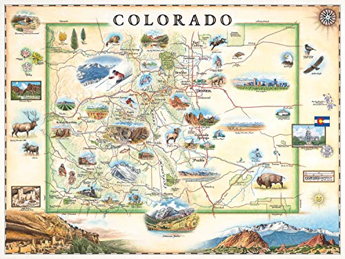Colorado Map Wall Art Poster - Authentic Hand Drawn Maps in Old World, Antique Style - Art Deco - Lithographic Print