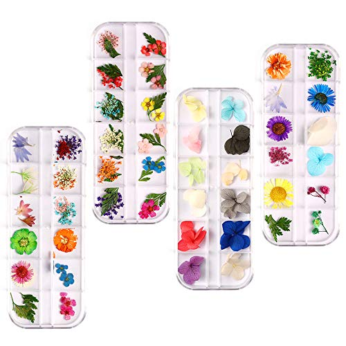 124 Pieces Nail Dried Flowers for Resin Jewellery Natural Nail Art Design,Real Pressed Flower Set 3D Nail Art Decoration