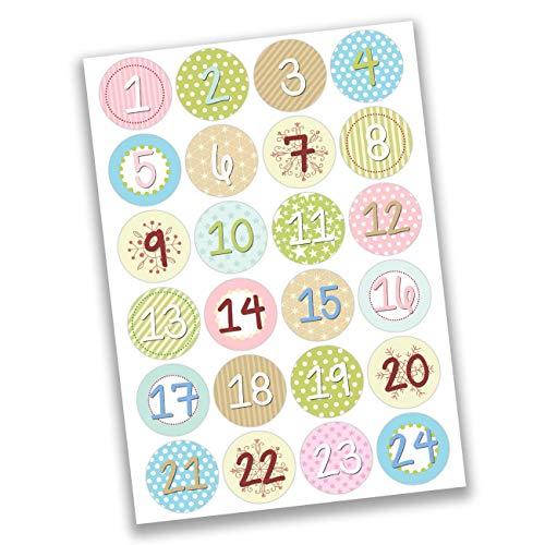 Papierdrachen 24 Adventskalender, getallen sticker, eenhoorn nr. 28, sticker, 4 cm, om te knutselen en te decoreren Speels meisjes