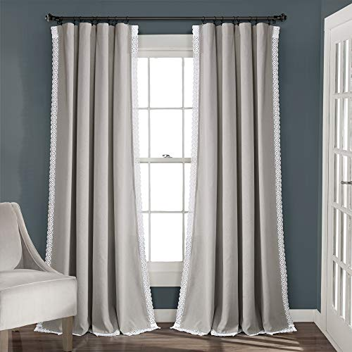 "Lush Decor Light Gray Rosalie Window Curtains Farmhouse, Rustic Style Panel Set for Living, Dining Room, Bedroom (Pair), 95"" x 54, 95"" x 54"""